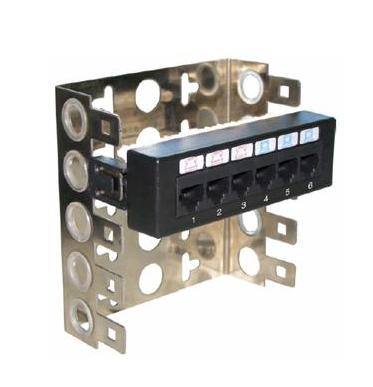 Патч-панель монтаж на скобу UTP 6xRJ45 кат.5е, Dual Type IDC, цвет черный (